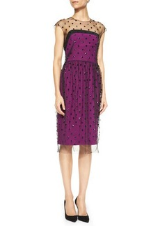 Lela Rose Jewel-Neck Illusion Dress with Beaded Overlay