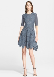 Lela Rose Knit Back Wool Lace Fit & Flare Dress