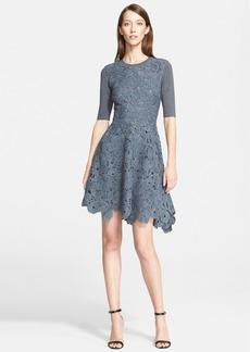 Lela Rose Knit Back Wool Lace Fit & Flare Dress