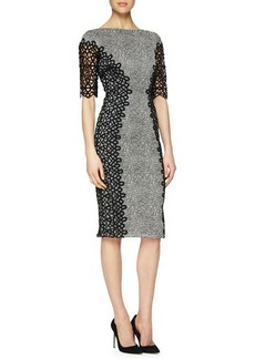 Lela Rose Lace-Detailed Speckled Dress  Lace-Detailed Speckled Dress