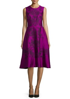 Lela Rose Lace Embroidered Sleeveless Dress