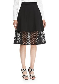 Lela Rose Lace-Hem Skirt