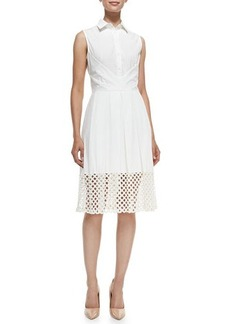 Lela Rose Lace-Hem Stretch-Cotton Shirtdress  Lace-Hem Stretch-Cotton Shirtdress
