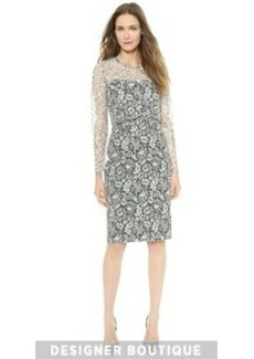 Lela Rose Lace Overlay Dress