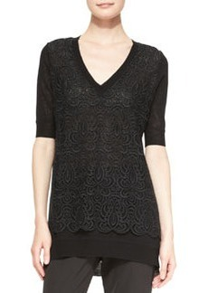 Lela Rose Lace-Overlay Tunic Sweater, Black