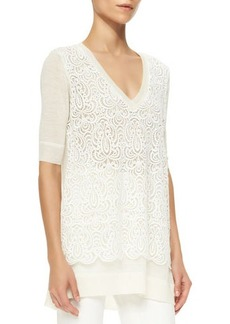 Lela Rose Lace-Overlay Tunic Sweater, Ivory