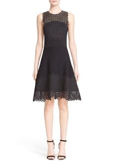 Lela Rose Lace Trim Sleeveless Knit Dress