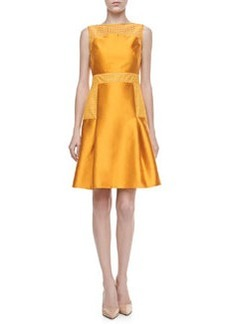 Lela Rose Lace-Trimmed Satin Dress, Marigold