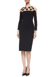 Lela Rose Long-Sleeve Beaded Cocktail Dress