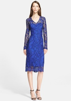 Lela Rose Long Sleeve Corded Lace Sheath Dress