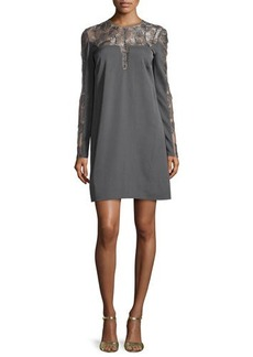 Lela Rose Long-Sleeve Feather Medallion Shift Dress