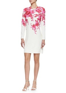 Lela Rose Long-Sleeve Floral-Print Shift Dress, Peony