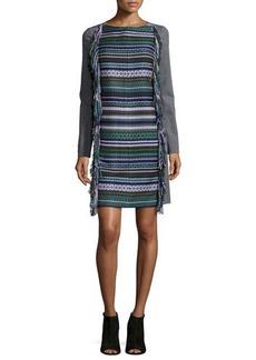 Lela Rose Long-Sleeve Fringe Shift Dress