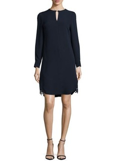 Lela Rose Long-Sleeve Lace-Hem Silk Dress