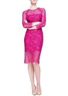 Lela Rose Long-Sleeve Lace Sheath Dress  Long-Sleeve Lace Sheath Dress