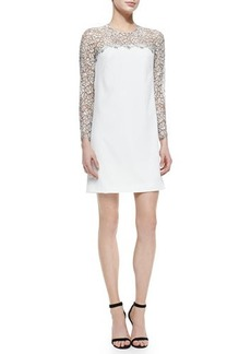 Lela Rose Long-Sleeve Lace-Yoke Shift Dress