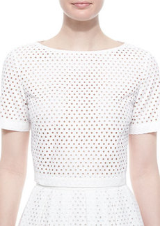 Lela Rose Mesh Short-Sleeve Crop Top
