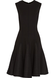 Lela Rose Mesh-trimmed ponte dress