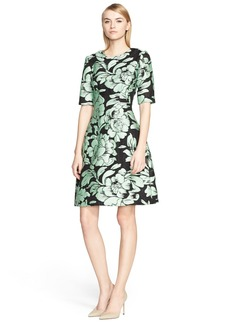 Lela Rose Metallic Brocade Fit & Flare Dress