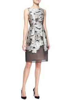 Lela Rose Metallic Embroidered Full-Skirt Dress