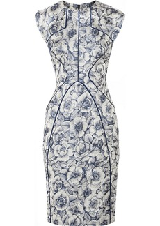 Lela Rose Metallic floral-jacquard dress