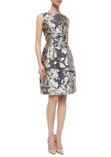 Lela Rose Metallic Floral Jacquard Dress  Metallic Floral Jacquard Dress