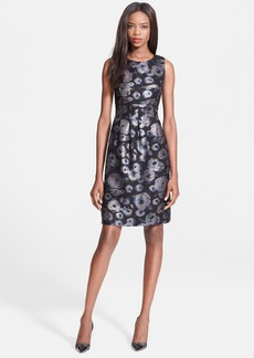 Lela Rose Metallic Floral Sheath Dress