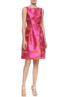 Lela Rose Metallic Space-Dyed Full-Skirt Dress, Pink