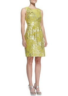 Lela Rose Metallic Splotched Classic Sheath Dress, Citrine