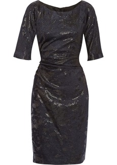 Lela Rose Metallic-woven velvet dress