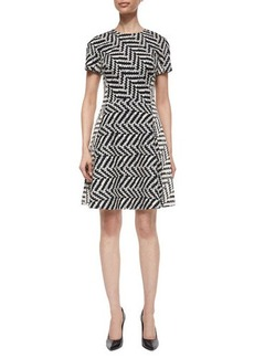 Lela Rose Mixed-Direction Chevron Jacquard Dress  Mixed-Direction Chevron Jacquard Dress