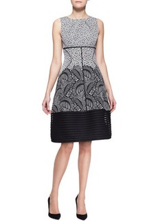 Lela Rose Mixed-Print Stripe-Hem Dress