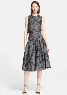 Lela Rose Mock Two-Piece Jacquard Fit & Flare Dress