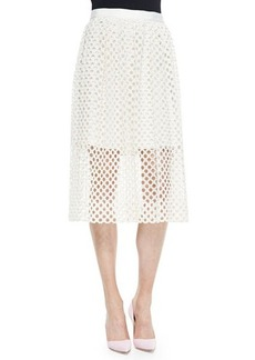 Lela Rose Net Lace Midi Skirt