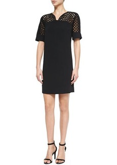 Lela Rose Net-Top Shift Dress, Black