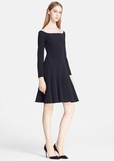 Lela Rose Off Shoulder Crepe Fit & Flare Dress