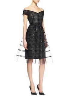 Lela Rose Off-Shoulder Embroidered Dress, Black