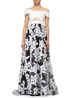 Lela Rose Off-The-Shoulder Floral-Embroidered Cutout Gown, Black/Ivory