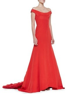 Lela Rose Off-the-Shoulder Gown with Ruffled Train, Persimmon