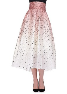 Lela Rose Ombre Embroidered Polka-Dot Skirt