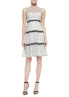 Lela Rose Paneled Floral-Lace Overlay Dress, Ivory