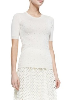 Lela Rose Pearl-Beaded Short-Sleeve Sweater  Pearl-Beaded Short-Sleeve Sweater