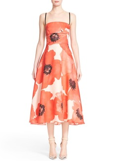 Lela Rose Poppy Print A-Line Midi Dress