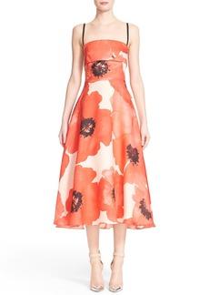 Lela Rose Poppy Print A-Line Midi Dress
