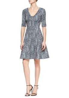 Lela Rose Reversible Elbow-Sleeve Fit-And-Flare Dress