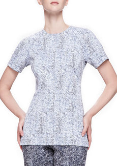 Lela Rose Reversible Short-Sleeve Tweed Top