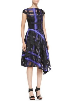 Lela Rose Ribbon-Plaid Draped Dress