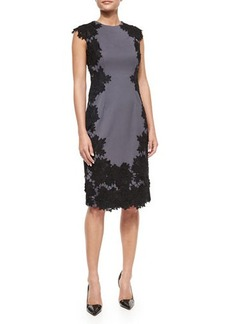 Lela Rose Rose Lace Trimmed Sheath Dress  Rose Lace Trimmed Sheath Dress