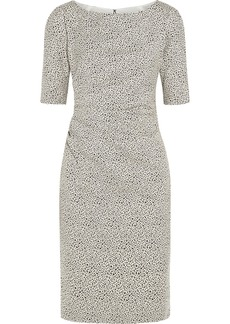 Lela Rose Ruched cotton-blend jacquard dress