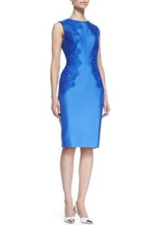 Lela Rose Satin Lace-Side Sheath Dress